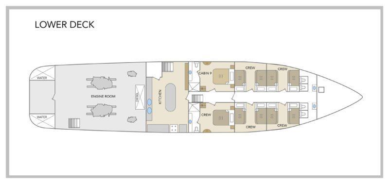 Galapagos Odyssey Yacht - Lower Deck Plan