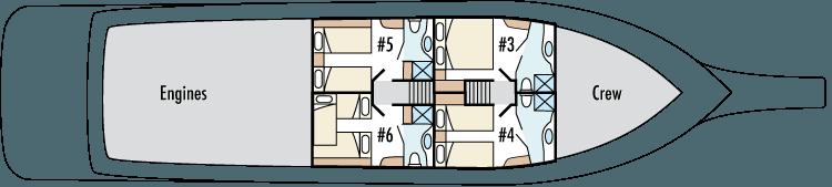 Reina Silvia Galapagos boat - Low Deck Plan