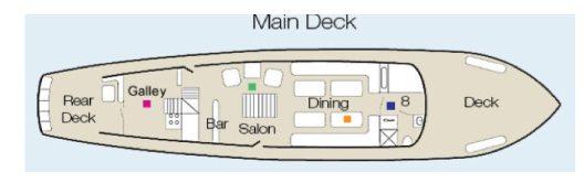 Cachalote Galapagos Yacht - Main Deck Plan