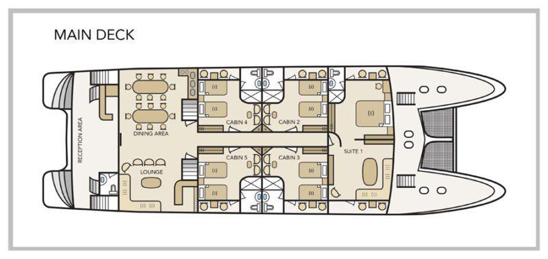 Treasure of Galapagos Yacht - Main Deck Plan