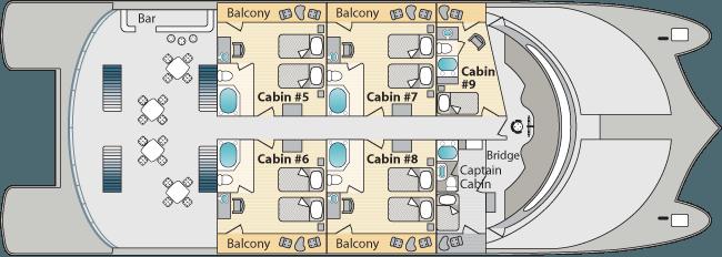Petrel Catamaran Galapagos - Upper Deck Plan
