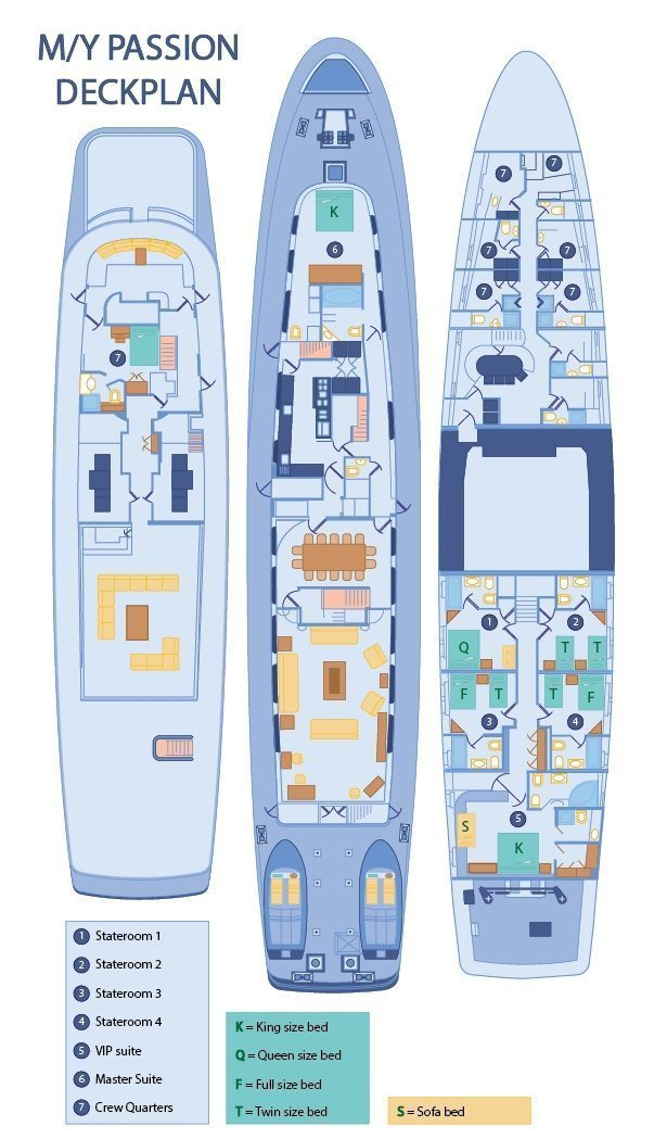 Passion Yacht Galapagos - Passion Yacht Deck Plan