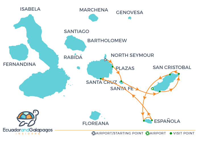 La Pinta Galapagos Yacht - Itinerary Eastern Islands