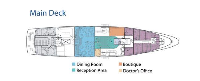 La Pinta Galapagos Yacht - Main Deck Plan