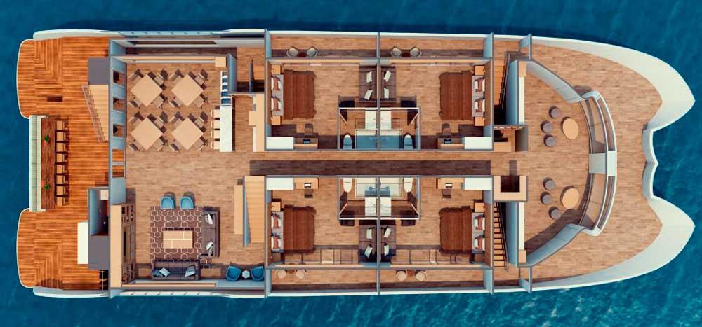Endemic Galapagos Catamaran Main Deck Plan