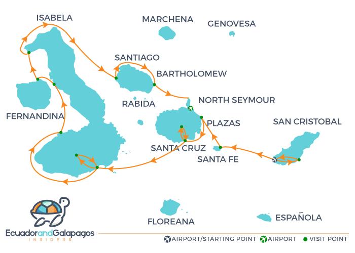 Infinity Galapagos Itinerary B - Western Islands