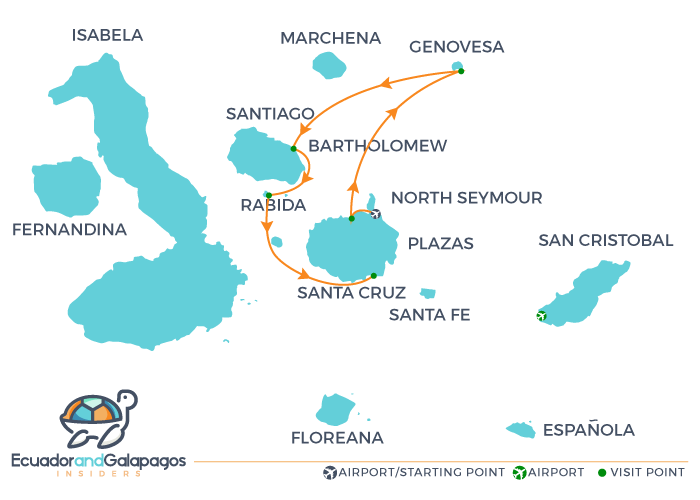 Itinerary 4 Days - Northern Islands Infinity Cruise Galapagos