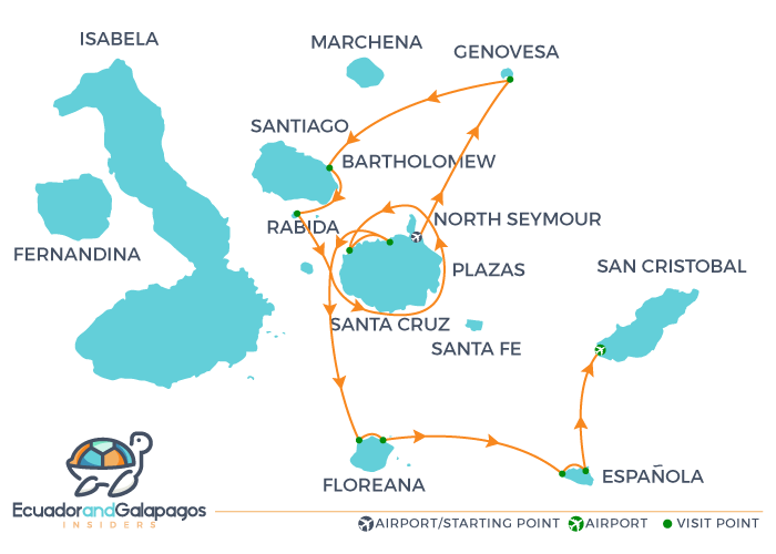 Infinity Galapagos Cruise Itinerary A - North & South Islands