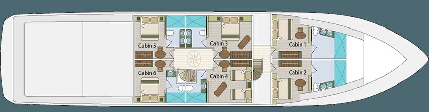 Majestic Motor Boat - Lower Deck Plan