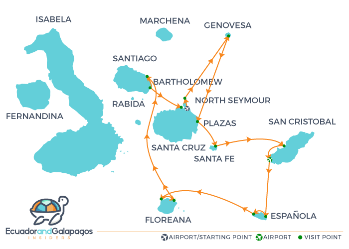 Solaris Galapagos Cruise Itinerary
