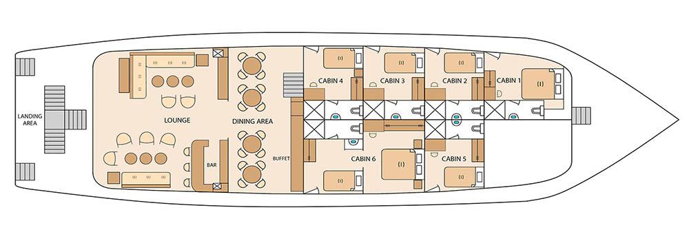 Solaris Galapagos Yacht - Main Deck Plan
