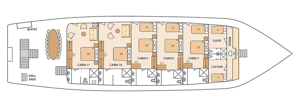 Solaris Galapagos Cruise - Upper Deck Plan