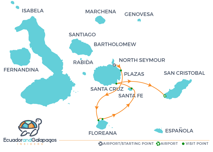 Itinerary 4 days Galapagos Cruise