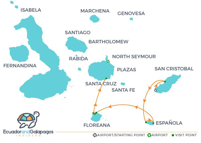 Itinerary 4 Days - Cormorant II Cruise Galapagos