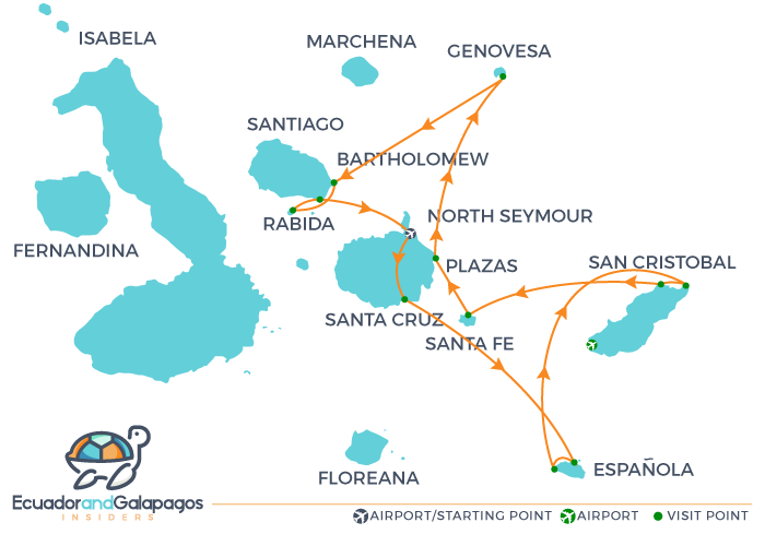 Itinerary Eastern Islands Integrity Galapagos Cruise