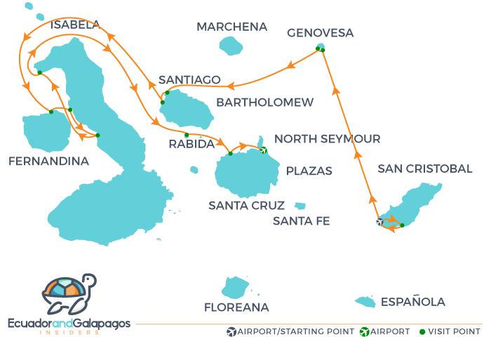 Isabella Galapagos Ship - Galapagos Cruise Ship - Itinerary Northern Islands