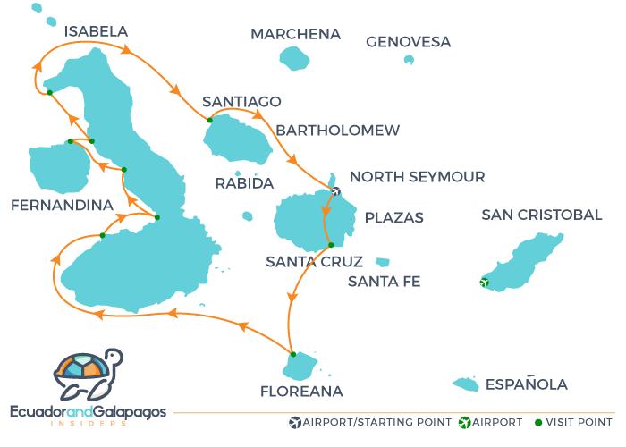 Integrity Galapagos cruises Itinerary Western - Western Islands