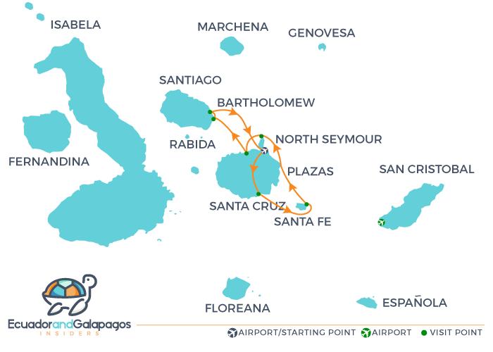 Isabella 2 Galapagos Yacht - Itinerary Central Islands