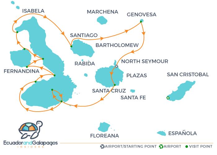 Cormorant II Galapagos Itinerary B - Western Islands