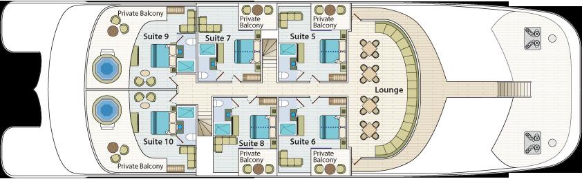 Cormorant II Galapagos  - Upper Deck Plan