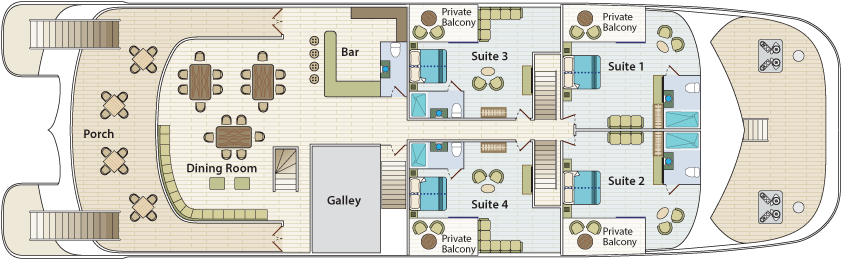 Cormorant II Galapagos - Main Deck Plan