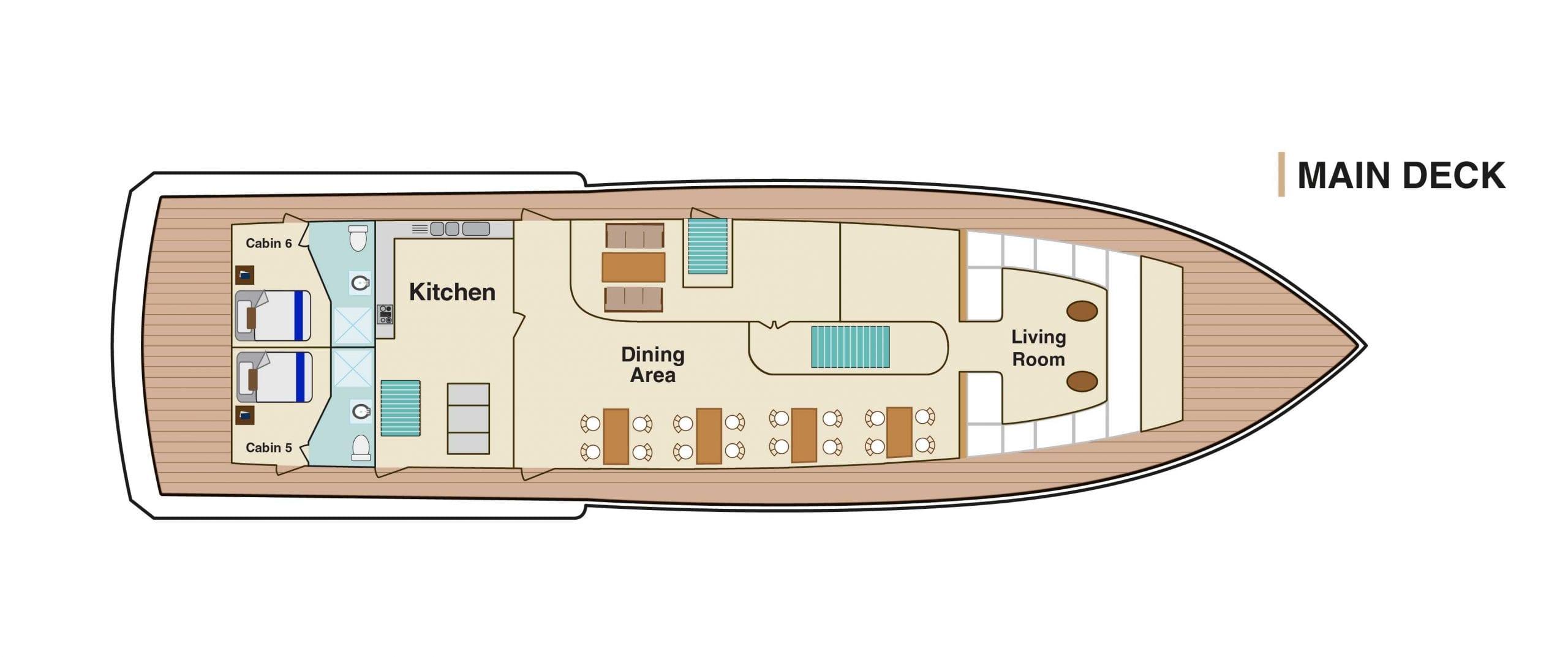 Bonita Yacht Galapagos - Main Deck Plan